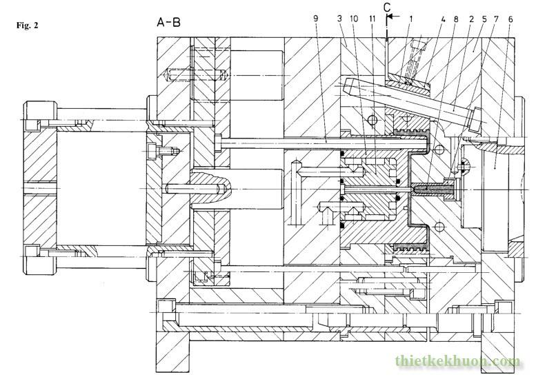 Hình 2:Kết cấu khuôn cho sản phẩm có ren